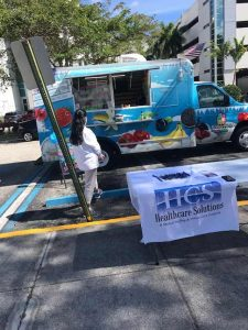 Healthcare Solutions ice cream truck event at Lake View Care Center.